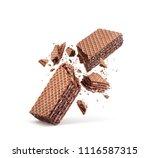 waffles broken in half ... | Shutterstock . vector #1116587315