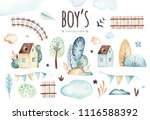 baby boys world. cartoon... | Shutterstock . vector #1116588392