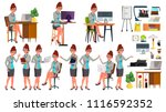 office worker vector. woman.... | Shutterstock .eps vector #1116592352