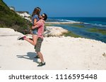 he hold her on arms. travel ... | Shutterstock . vector #1116595448