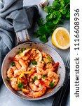 spicy garlic chilli prawns... | Shutterstock . vector #1116608936