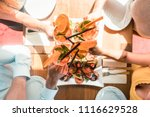 high angle view of the hands of ... | Shutterstock . vector #1116629528