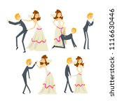 couple of newlyweds set ... | Shutterstock .eps vector #1116630446