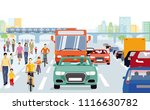 city with pedestrians  cyclists ... | Shutterstock .eps vector #1116630782