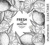 lemon label vector drawing.... | Shutterstock .eps vector #1116673685
