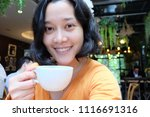 selfie asian woman  drinking... | Shutterstock . vector #1116691316