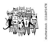 different cartoon cats. black... | Shutterstock .eps vector #1116691478