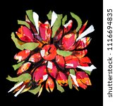 flowers art  paper collage and... | Shutterstock . vector #1116694835