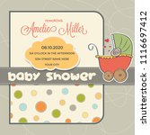baby shower card with stroller  ... | Shutterstock .eps vector #1116697412