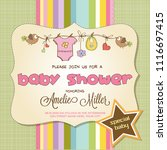 baby shower card with baby... | Shutterstock .eps vector #1116697415