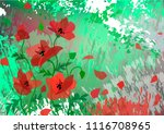 landscape with red poppies. red ...   Shutterstock .eps vector #1116708965