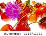 bright juicy strawberries and... | Shutterstock . vector #1116711332