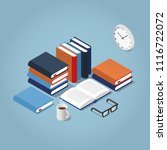 vector isometric reading books... | Shutterstock .eps vector #1116722072