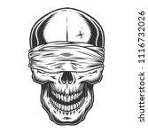 monochrome vintage skull with...   Shutterstock .eps vector #1116732026
