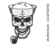 monochrome vintage skull in... | Shutterstock .eps vector #1116732032
