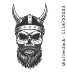 monochrome vintage skull with... | Shutterstock .eps vector #1116732035