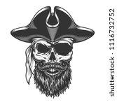 monochrome vintage skull in... | Shutterstock .eps vector #1116732752