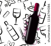 background wine icons drawn... | Shutterstock .eps vector #1116744386