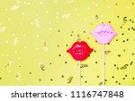 red and pink lips for fun on... | Shutterstock . vector #1116747848