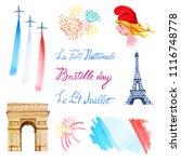bastille day set. hand drawn... | Shutterstock . vector #1116748778