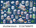 set of urban flat buildings of... | Shutterstock . vector #1116768695