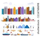 set of urban flat buildings | Shutterstock . vector #1116768698