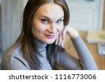 beautiful young woman smiling... | Shutterstock . vector #1116773006