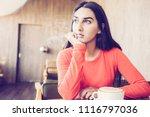 pensive indian woman waiting... | Shutterstock . vector #1116797036