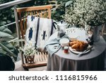 breakfast with croissants and... | Shutterstock . vector #1116815966