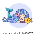 mermaid with flower in her hair ... | Shutterstock .eps vector #1116836375