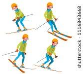 skiing man male. skiing... | Shutterstock . vector #1116843668