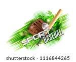 baseball poster with a baseball.... | Shutterstock .eps vector #1116844265