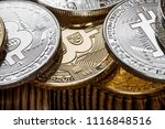gold bitcoin money on wooden... | Shutterstock . vector #1116848516