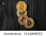 gold bitcoin money on wooden... | Shutterstock . vector #1116848522