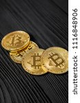 gold bitcoin money on wooden... | Shutterstock . vector #1116848906