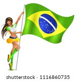 beautiful woman holding flag of ... | Shutterstock .eps vector #1116860735