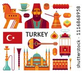 turkey icons collection. vector ... | Shutterstock .eps vector #1116868958