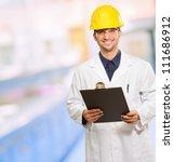 technician holding writing pad  ... | Shutterstock . vector #111686912