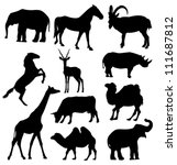 Vector Silhouettes Of Elephant...