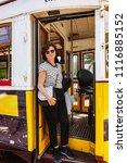 passenger in the tram of lisbon  | Shutterstock . vector #1116885152