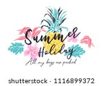 summer holiday slogan with... | Shutterstock .eps vector #1116899372