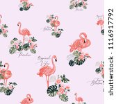 exotic pink flamingo pattern.... | Shutterstock .eps vector #1116917792