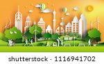 paper art style of landscape in ... | Shutterstock .eps vector #1116941702