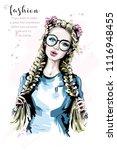 hand drawn beautiful woman... | Shutterstock .eps vector #1116948455