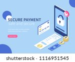 secure payment  concept banner.... | Shutterstock .eps vector #1116951545