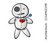 voodoo doll with heart. cartoon ... | Shutterstock .eps vector #1116962198