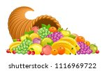 Cornucopia With Fruits And...