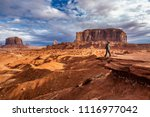 tourist admiring view with... | Shutterstock . vector #1116977042