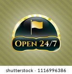 shiny emblem with flag icon... | Shutterstock .eps vector #1116996386