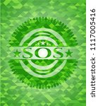 sos realistic green emblem.... | Shutterstock .eps vector #1117005416
